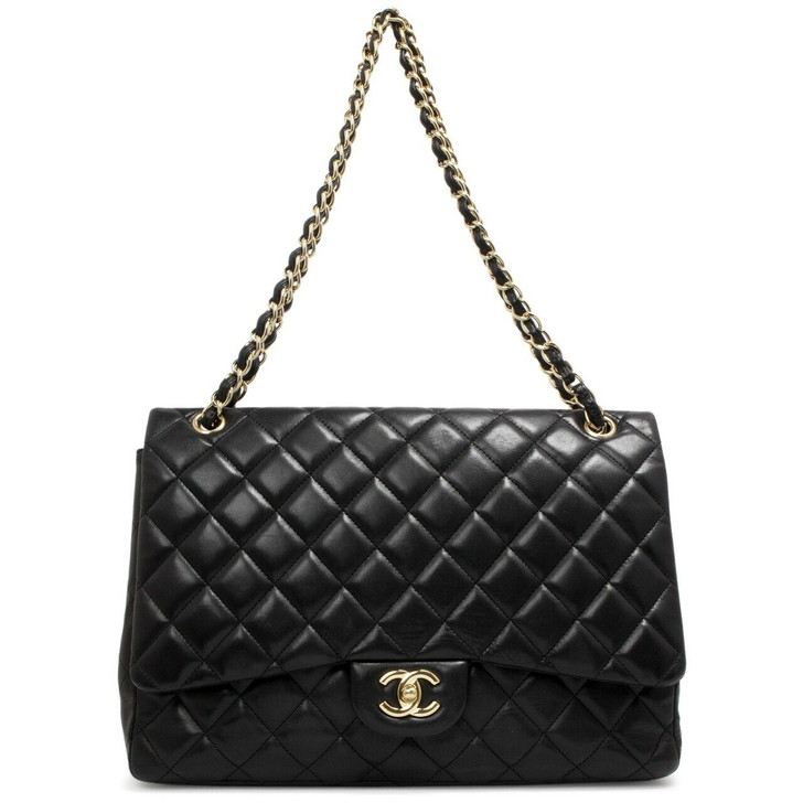 Chanel Black Quilted Lambskin  Maxi Single Flap