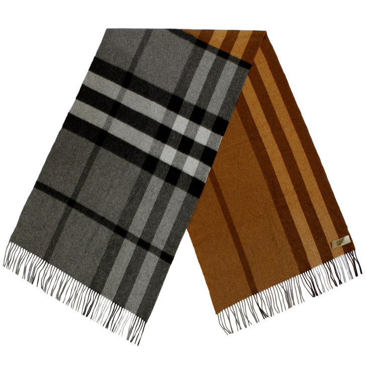 Burberry Brown/Grey Check Cashmere Scarf