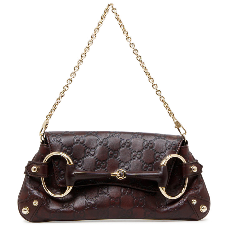 Gucci Brown Guccissima Horsebit Chain  Clutch