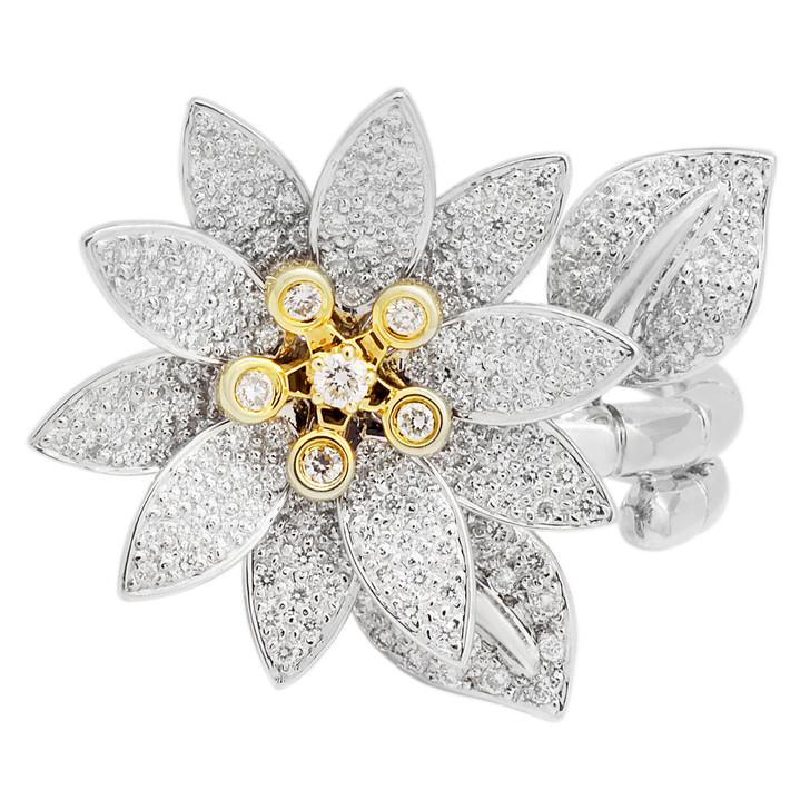 18K White Gold 1.04 Carat Diamond Blossom Ring