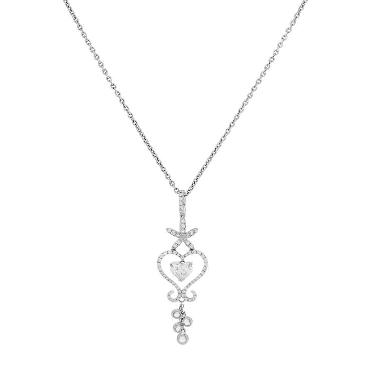 18K White Gold Heart Shaped Diamond Pendant Necklace