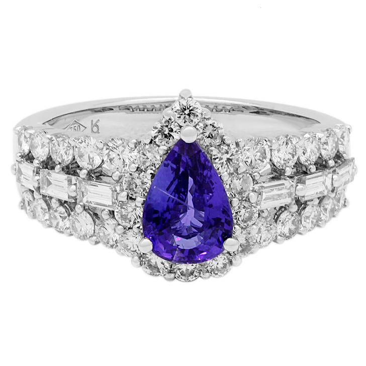 18K White Gold 1.22 Carat Sapphire Diamond Ring
