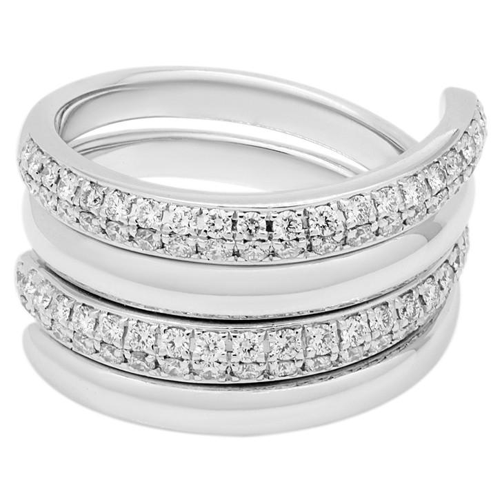 18K White Gold 1.04 Carat Diamond Coil Ring Set