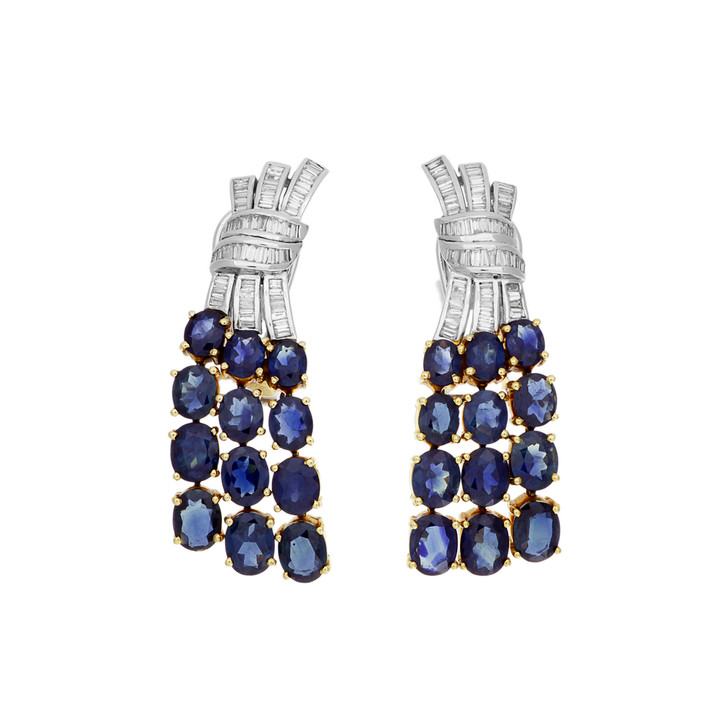 18K Yellow & White Gold 13.68 Carat Sapphire & Diamond Earrings