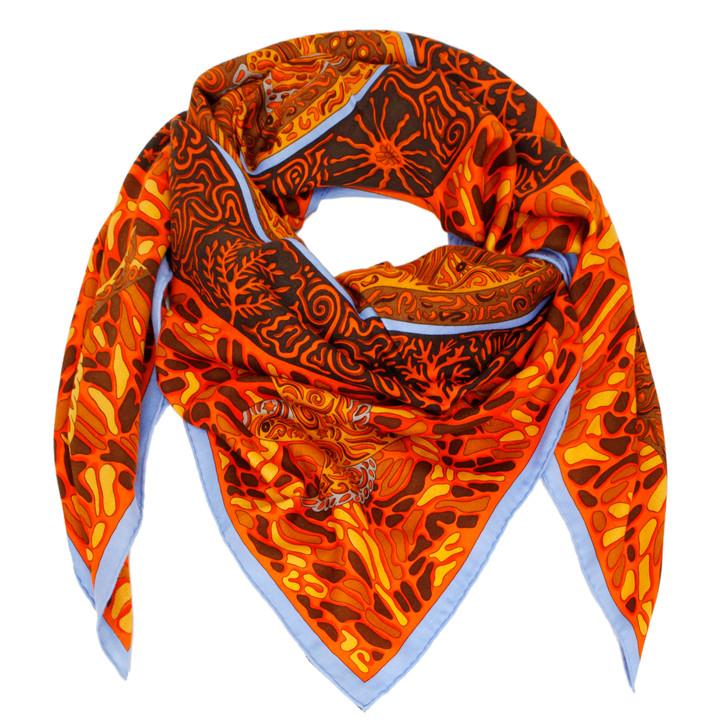 Hermes La Legende du Poisson Corail Cashmere Scarf 140