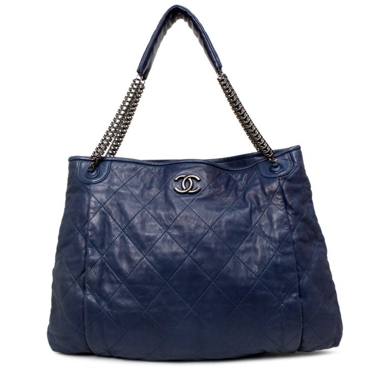 Chanel Blue Quilted Lambskin Chain Hobo