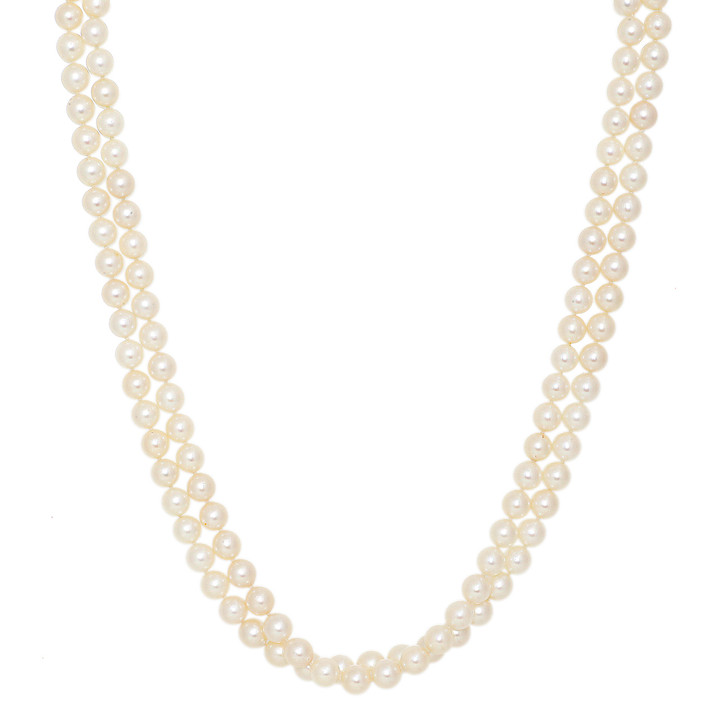 14K White Gold & Diamond Akoya Pearl Double Strand Necklace