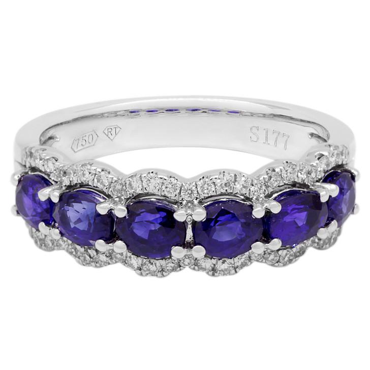 18K White Gold 1.77 Carat Sapphire & Diamond Ring
