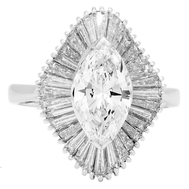 14K White Gold 1.38 Carat Marquis Diamond Ring