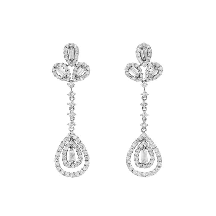 18K White Gold 1.82 Carat Diamond Drop Earrings