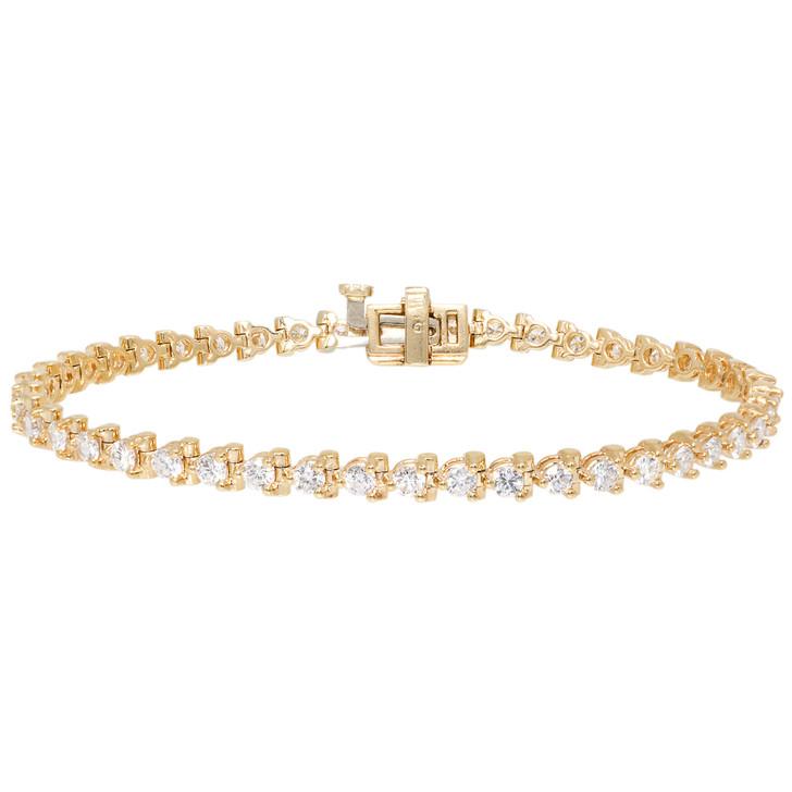 14K Yellow Gold 3.60 Carat Diamond Tennis Bracelet