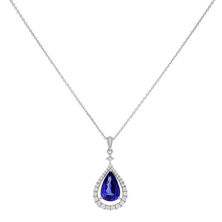 18K White Gold 3.52 Carat Sapphire & Diamond Pendant