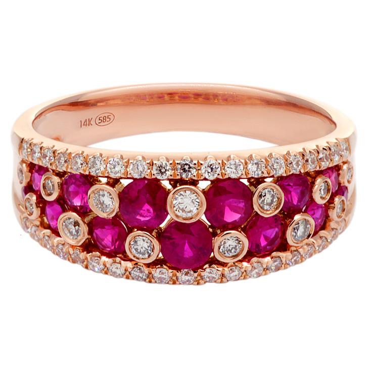 14K Rose Gold 1.06 Carat Ruby & Diamond Ring