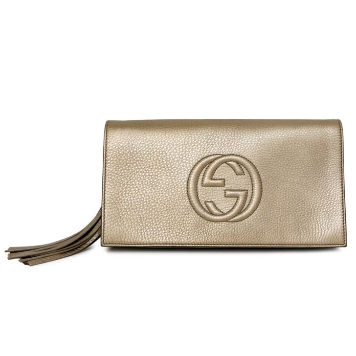 Gucci Gold Calfskin Soho Clutch