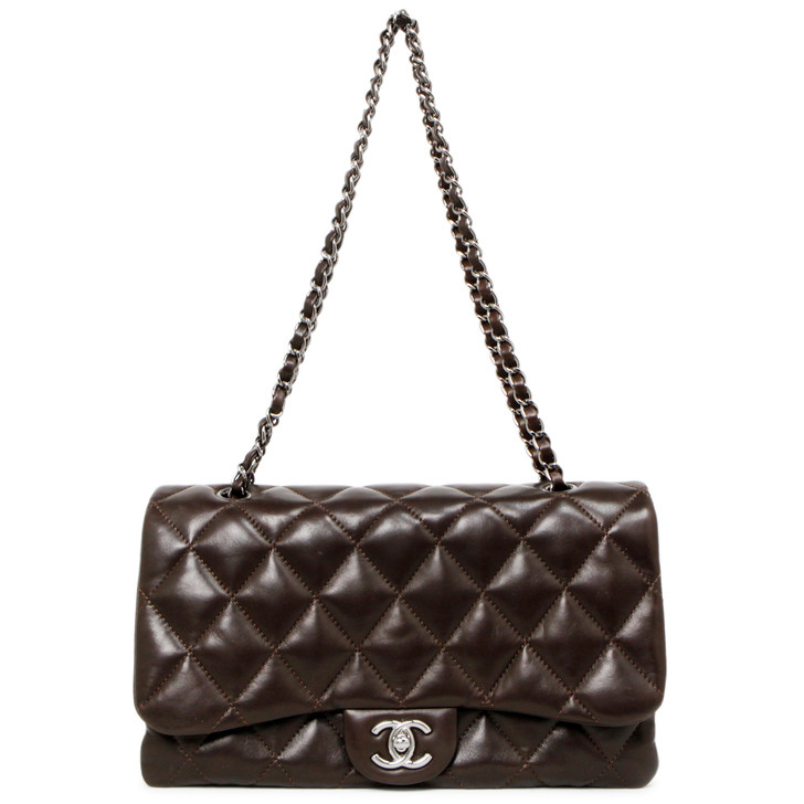 Chanel Brown Quilted Lambskin Jumbo 3 Flap Bag