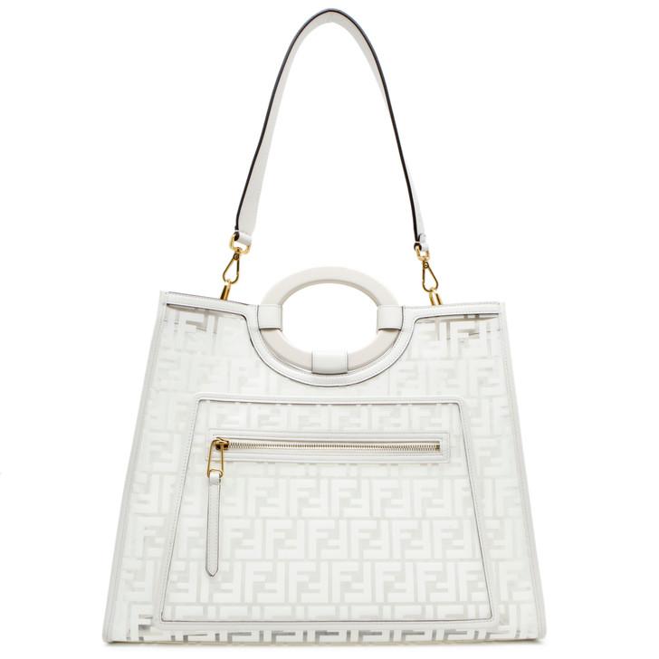 Fendi White FF PVC Medium Runaway Shopping Tote