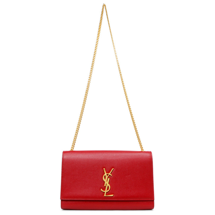 Saint Laurent Red Grain De Poudre Medium Monogram Kate Satchel