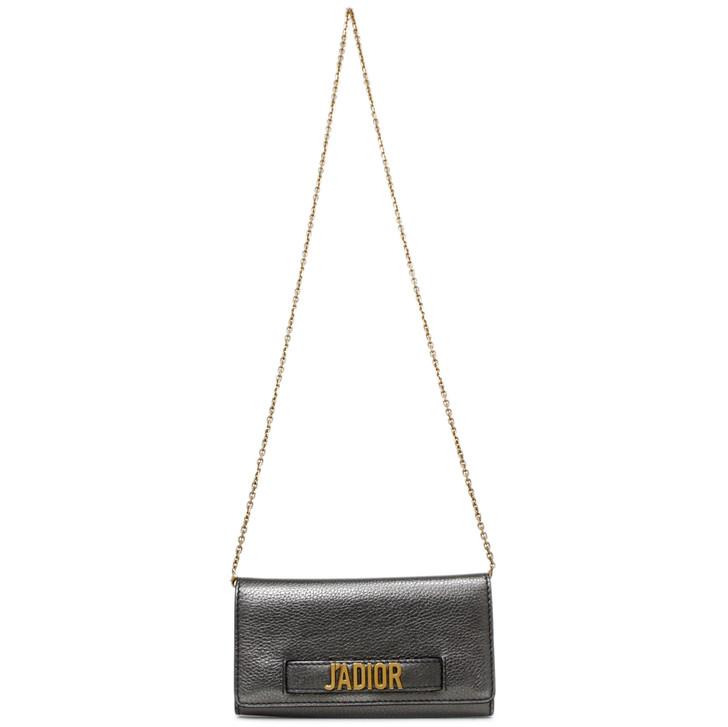 Christian Dior Metallic Dark Silver J'Adior Croisiere Chain Wallet