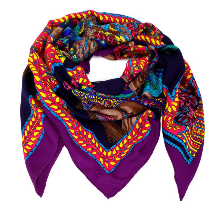 Hermes Violet/Caban Cashmere/Silk La Danse du Cheval Marwari Scarf 140