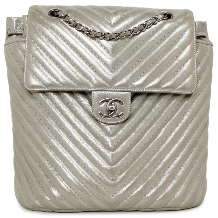 Chanel Silver Metallic Iridescent Chevron Calfskin Large Urban Spirit Backpack