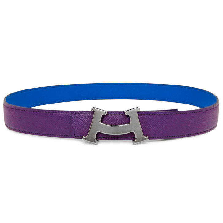 Hermes Blue/Purple Swift/Epsom Smile H 32mm Reversible Belt