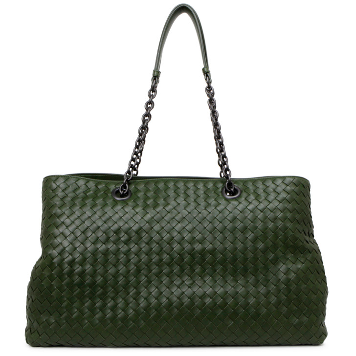Bottega Veneta Green Nappa Intrecciato Large Top Handle Tote