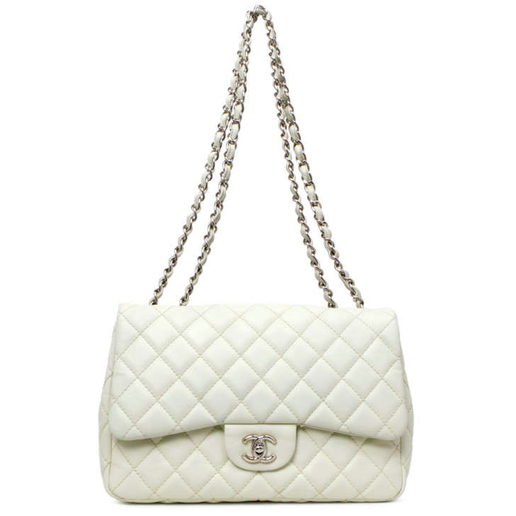 Chanel Ivory Quilted Caviar Jumbo Single Flap