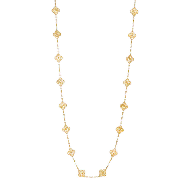 Van Cleef & Arpels 18K Yellow Gold 20 Motif Vintage Alhambra Necklace