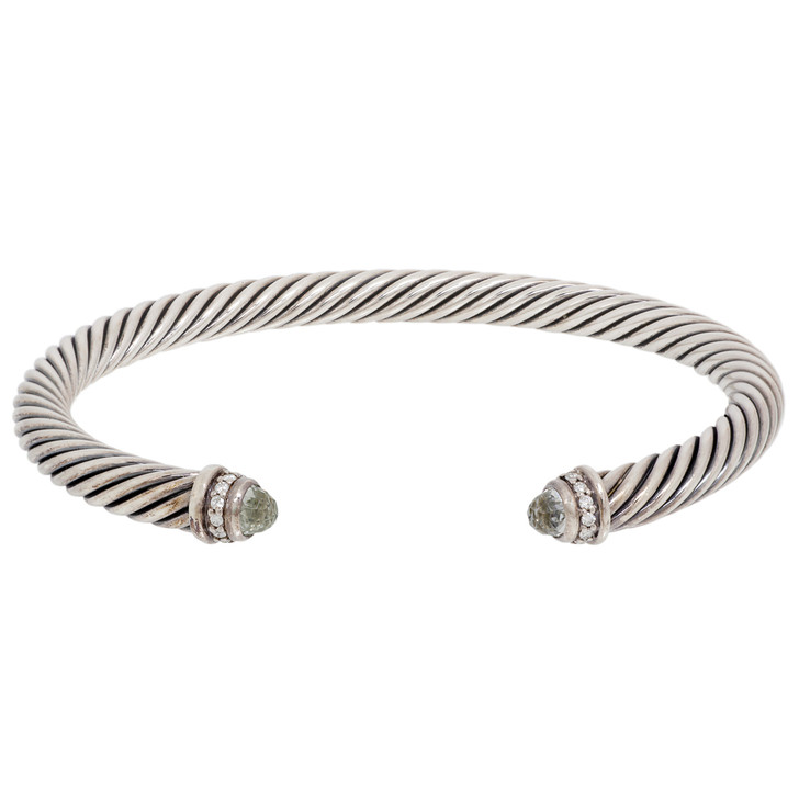 David Yurman Sterling Silver Prasiolite & Diamond 5mm Cable Classic Bracelet