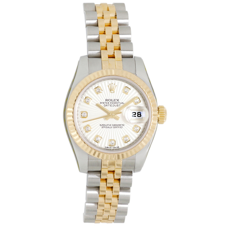 Rolex 18K & Stainless Steel, Diamond Sunbeam Dial Ladies Datejust 179173