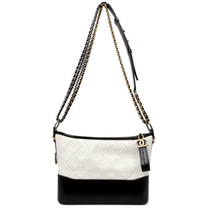 Chanel Black & White Aged Calfskin Medium Gabrielle Hobo