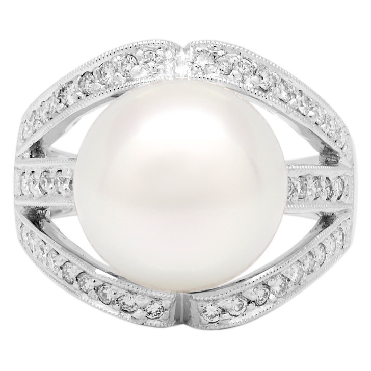 18K White Gold South Sea Pearl 0.46 Carat Diamond Ring