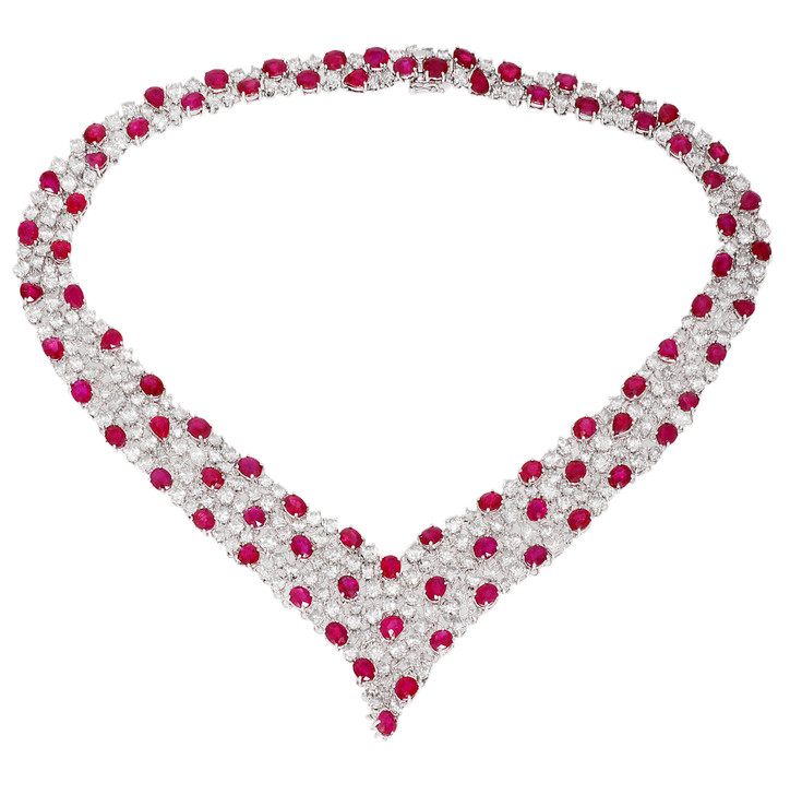 18K White Gold 36.41 Carat Ruby & Diamond Necklace