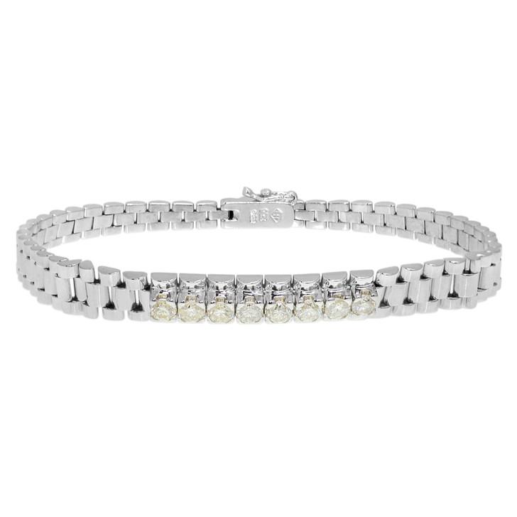 14K White Gold 1.04 Carat Diamond Bracelet