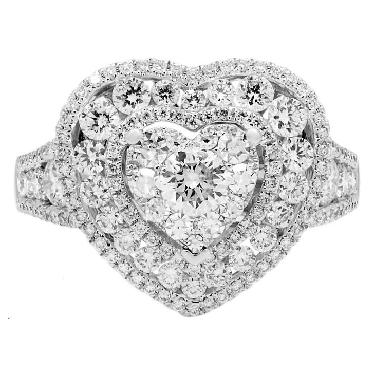 18K White Gold 1.35 Carat Diamond Heart Ring