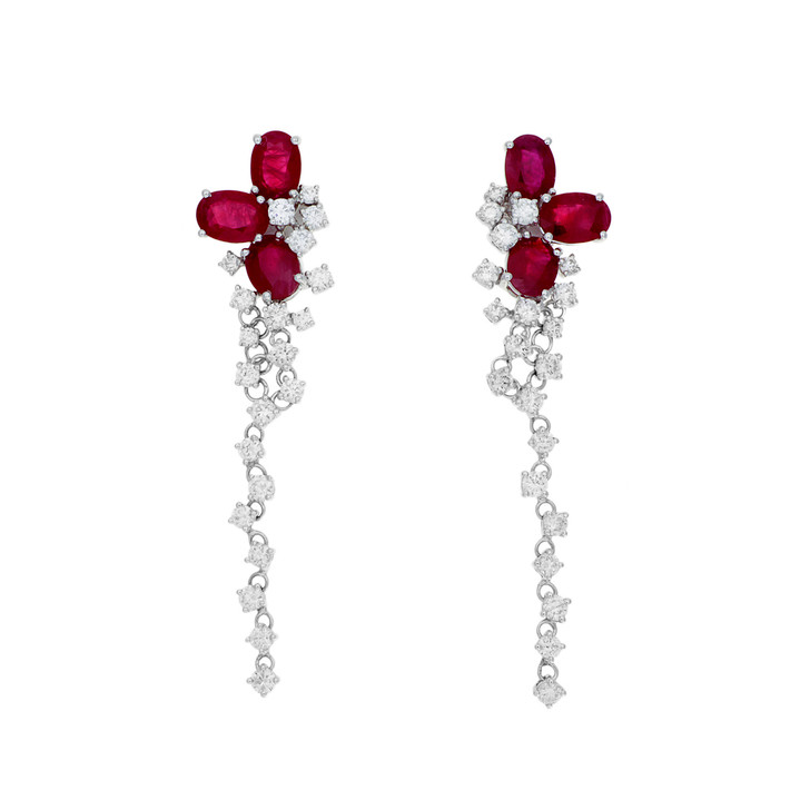 18K White Gold 6.52 Carat Ruby & Diamond Earrings
