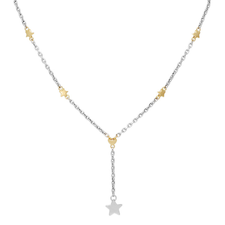18K White & Yellow Gold Star Necklace