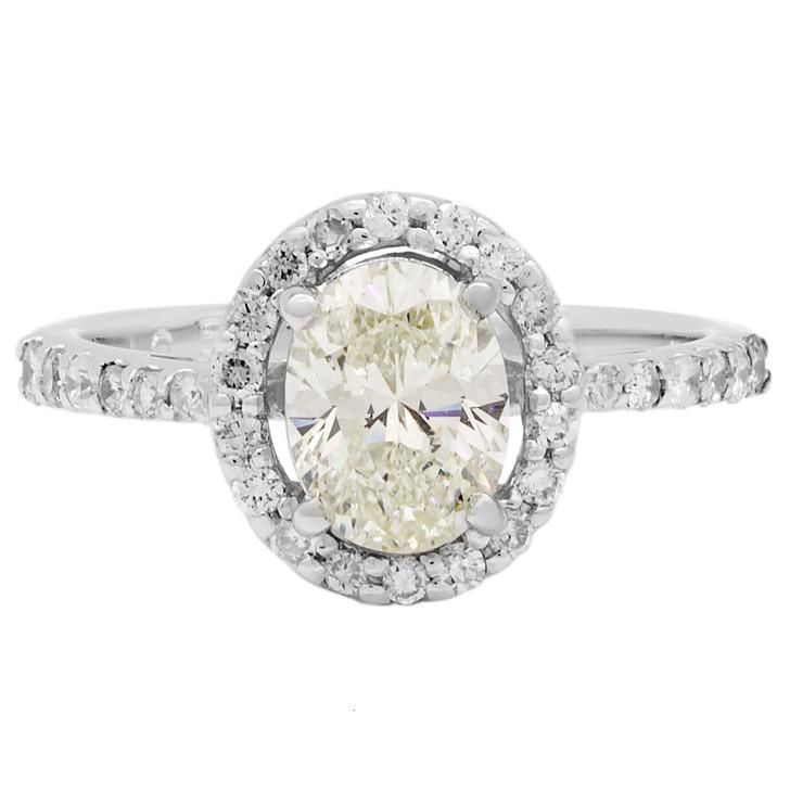 18K White Gold 1.05 Carat Oval Diamond Ring