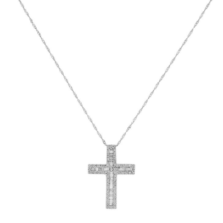 18K White Gold 0.85 Carat Diamond Cross Pendant