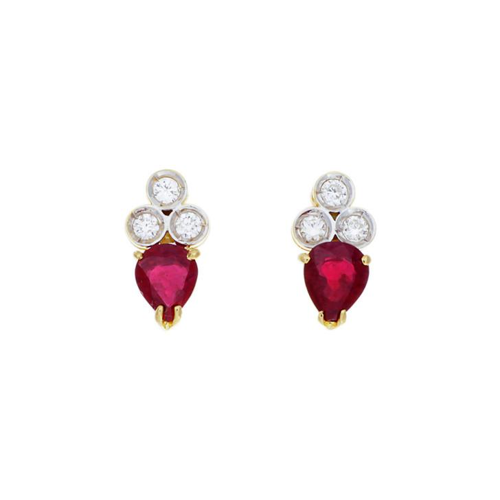 18K Yellow Gold 0.86 Carat Ruby & Diamond Earrings