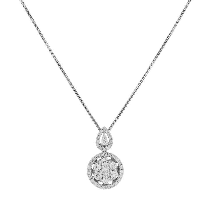 14K White Gold 0.65 Carat Diamond Pendant Necklace