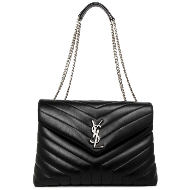 Saint Laurent Black Calfskin Matelasse Y Medium Loulou Shoulder Bag