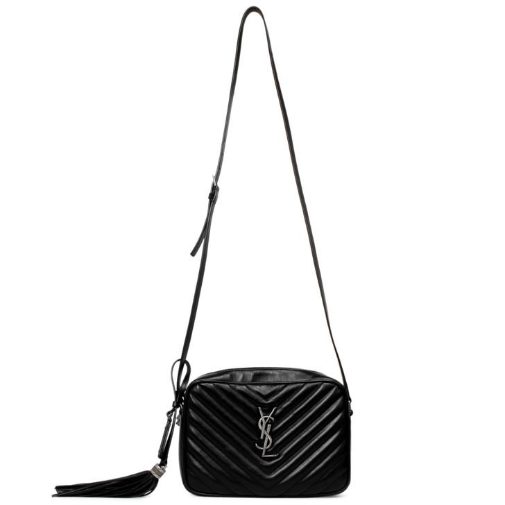 Saint Laurent Black Calfskin Matelasse Monogram Lou Camera Bag