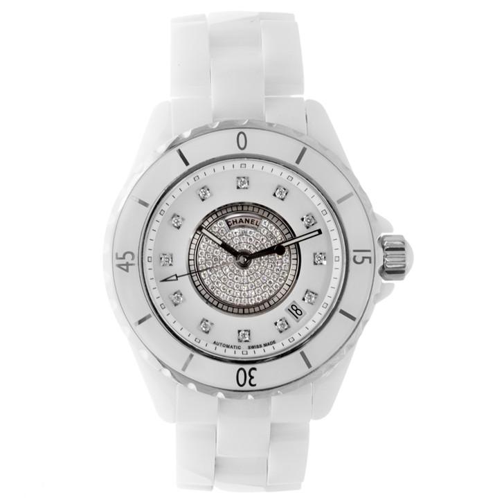 Chanel White Ceramic J12 38mm Diamond Automatic Watch H1759