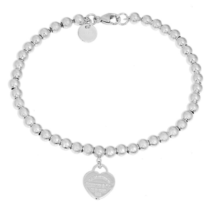 Tiffany & Co. Sterling Silver Mini Heart Tag Bead  Bracelet