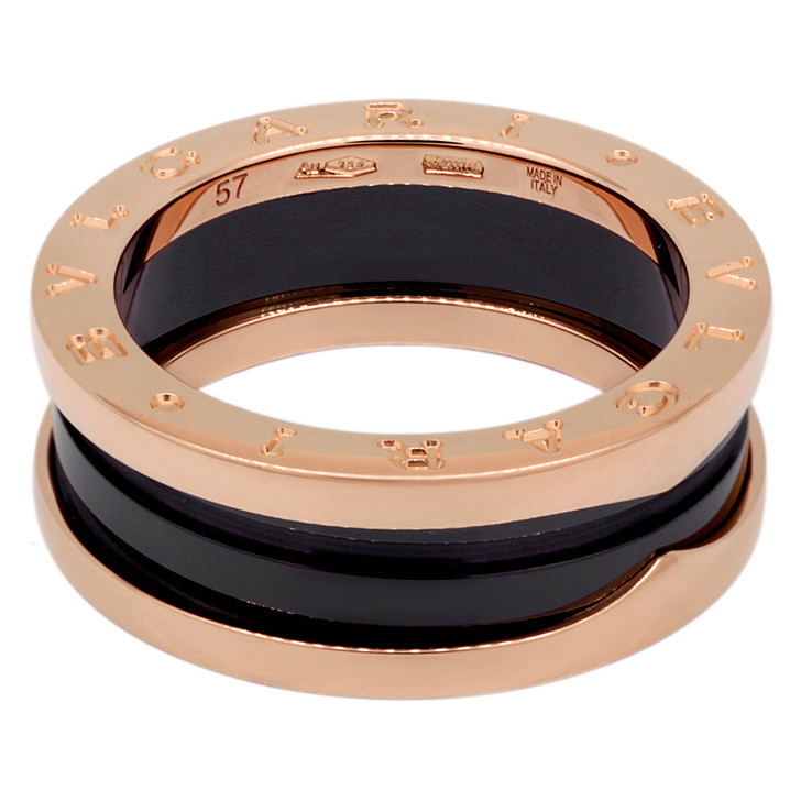 Bvlgari 18K Rose Gold & Black Ceramic B.Zero1  Two-Band Ring