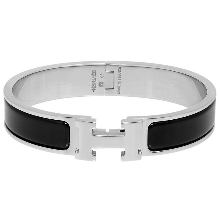 Hermes Black Enamel Clic H Bracelet