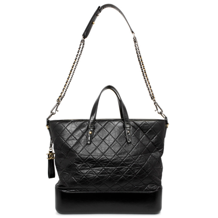 Chanel Black Quilted Aged Calfskin Large Gabrielle Shopping Tote