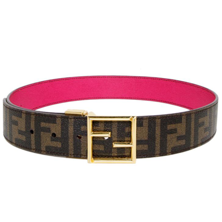 Fendi Zucca Canvas FF Buckle Reversible Belt
