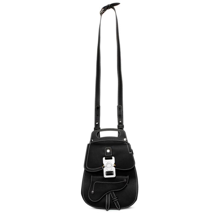 Dior Black Grained Calfskin Mini Saddle Backpack